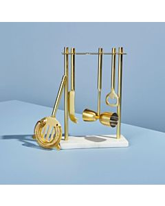 BAR SET GOLD W/ MARBLE STAND