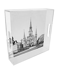 TRAY LUCITE CATHEDRAL 12 INCH SQUARE