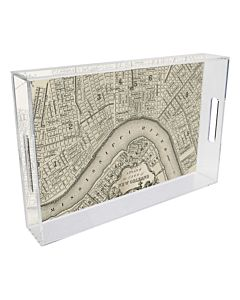 TRAY LUCITE NOLA MAP RIVERBEND 12 INCH SQUARE